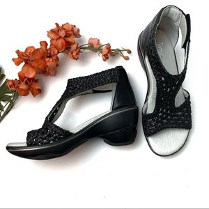"JAMBU Black Wedge Sandal Leather ""Sandy"" Gladiator"